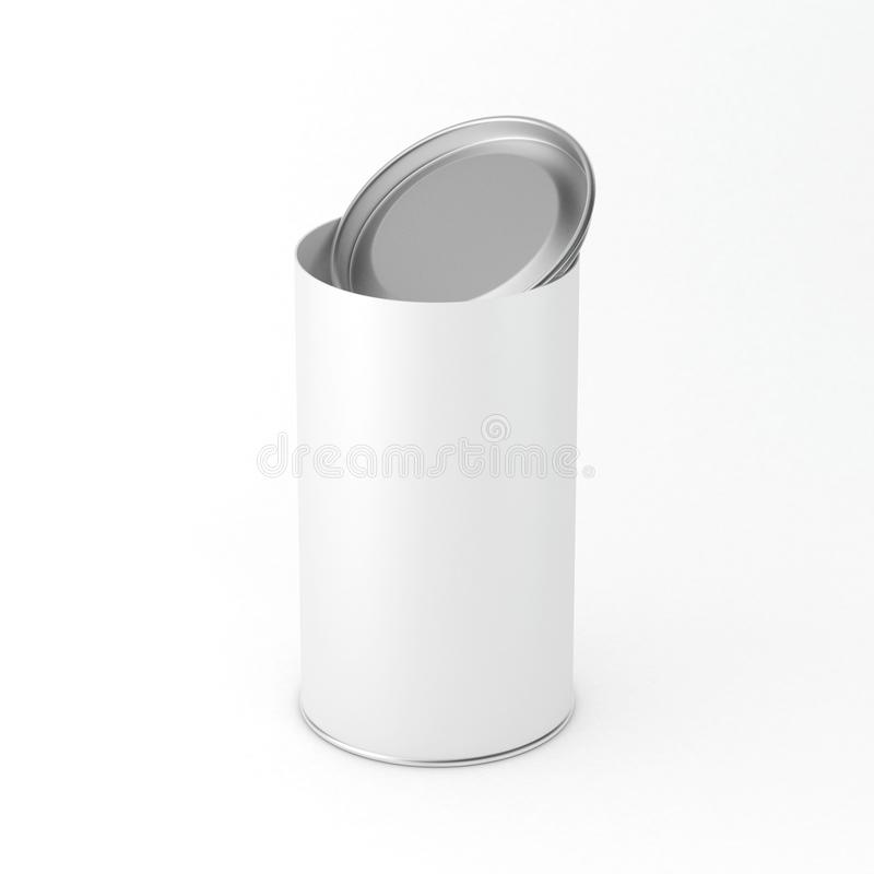 Mockup of white cardboard Blank Tin can packaging with open lid, cover. Tea, coffee, dry products, gift box stock illustration