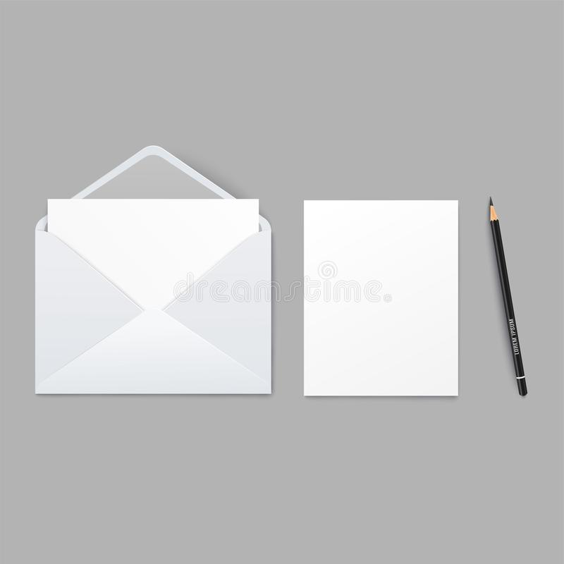 Mockup of white envelope and blank sheet of paper and pencil realistic style royalty free illustration