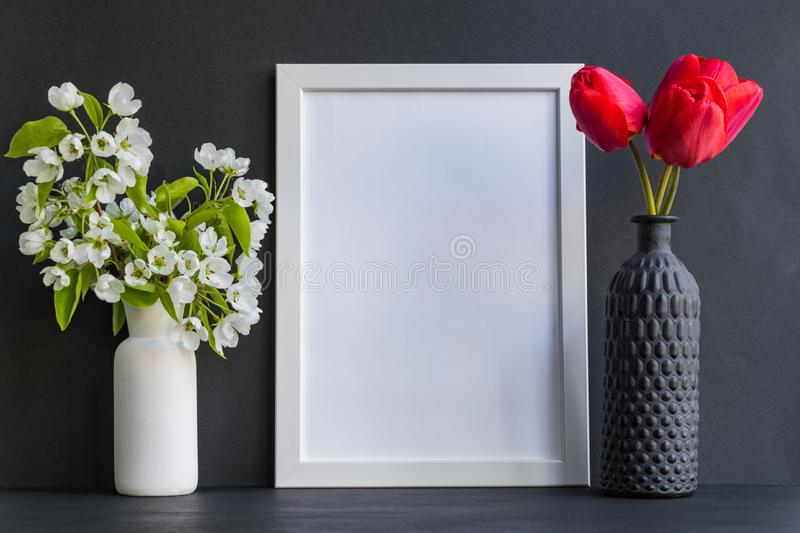 Mockup with a white frame stock image