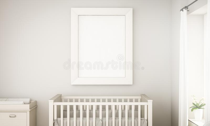 Mockup of a white frame on unisex baby room. Grey baby room mockup with blank frame 3d rendering royalty free illustration