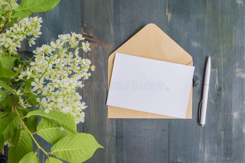 Mockup With Postcard Flowers Bouquet Kraft Envelope