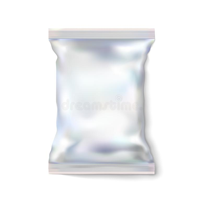 Mockup white or light blank pack, foil. Silvery food package snack for chips, candy and other products. Perhaps, wet wipes stock illustration
