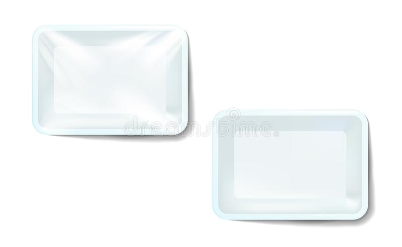 Mockup white realistic plastic food container wrapped by polyethylene and without the wrapper. Vector Rectangle Blank Styrofoam. Tray, Template for your design stock illustration