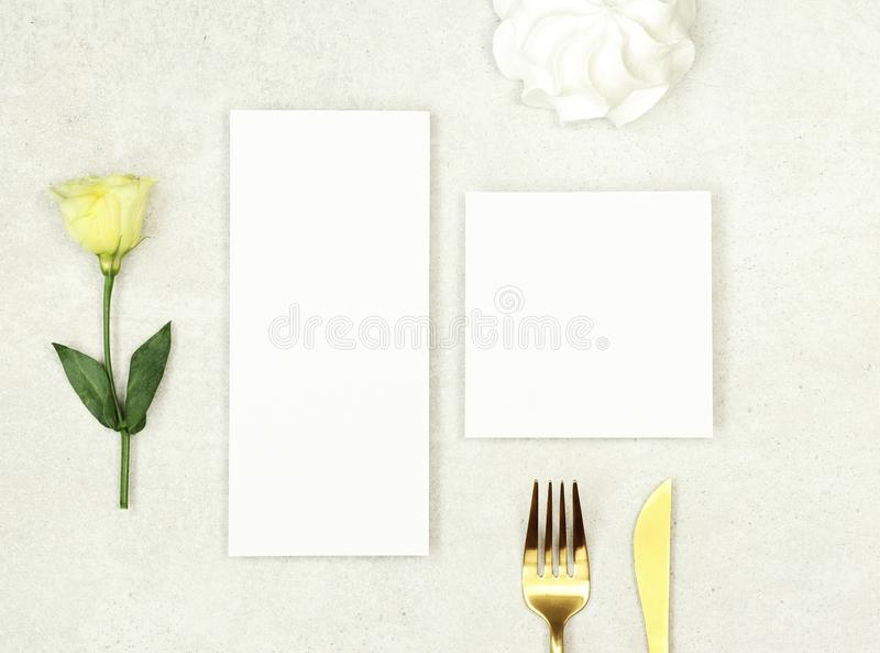 Mockup wedding menu and thank you card on grey background royalty free stock image