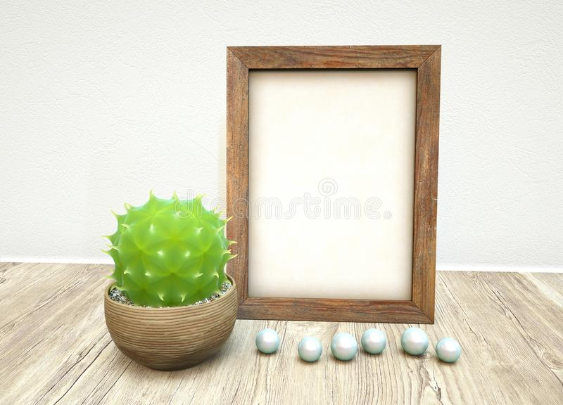 Mockup of wooden frame, pearls, green succulent plant in ceramic on wooden table royalty free stock image