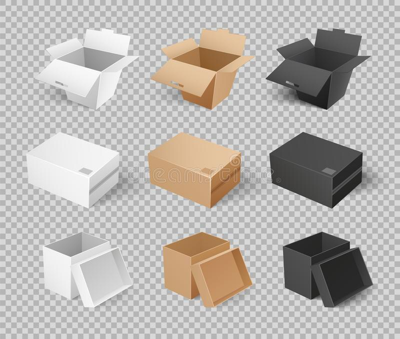 Mockups Cardboards Delivery Packs Realistic Design. Mockups of cardboards, delivery packs in realistic design. Containers templates vector. Boxes and packages royalty free illustration