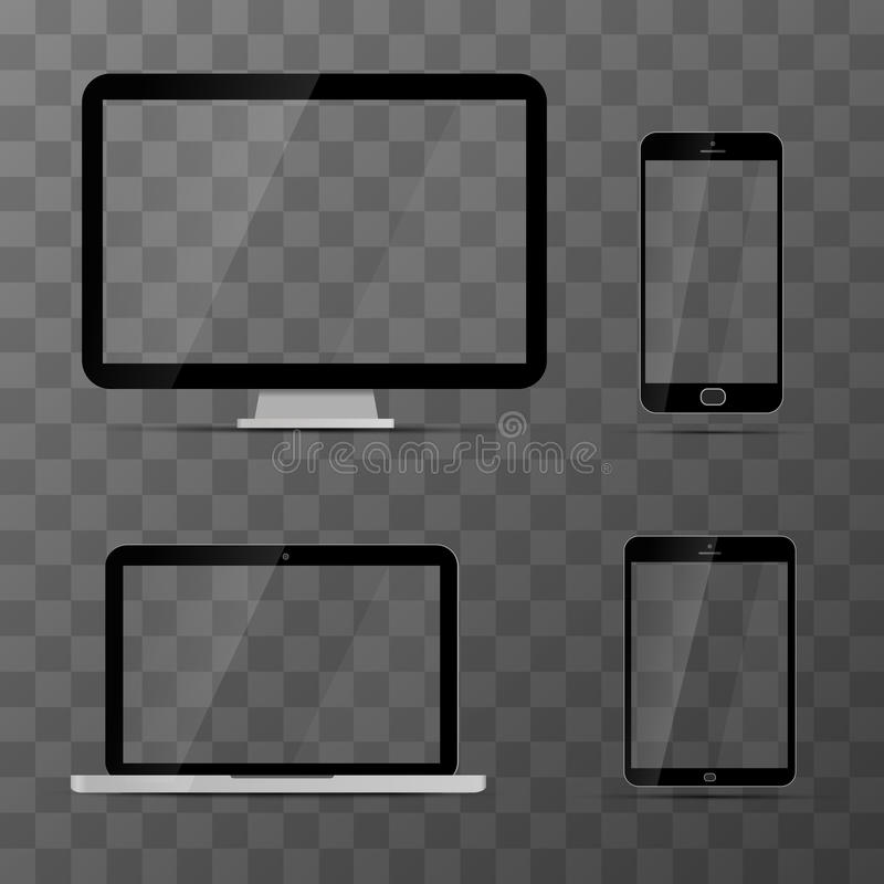 Mockups of monitor, laptop, black tablet and smartphone stock illustration