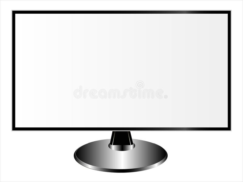 Mockups of a monitor, a tablet computer and a smartphone on a white background. stock illustration
