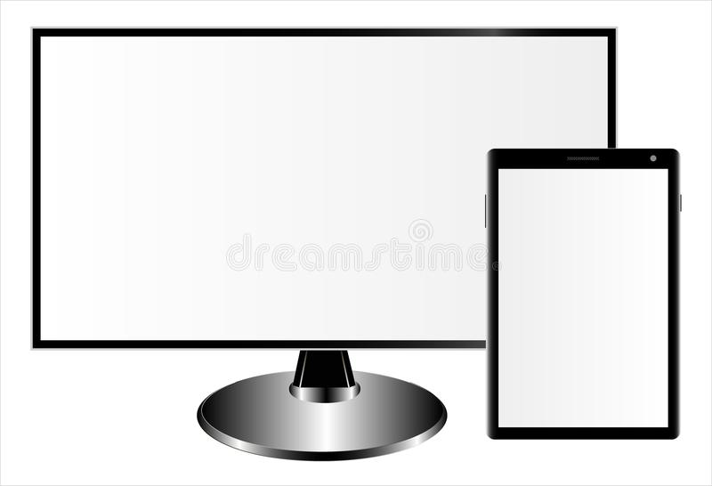 Mockups of a monitor and tablet computer on a white background. Can be used as a template for your design. vector illustration