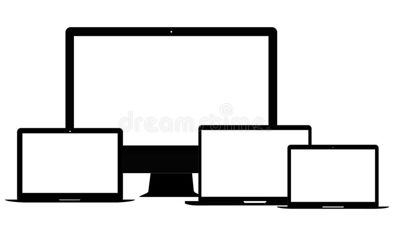Wireframes devices: computer monitor and laptops isolated on white background. stock illustration