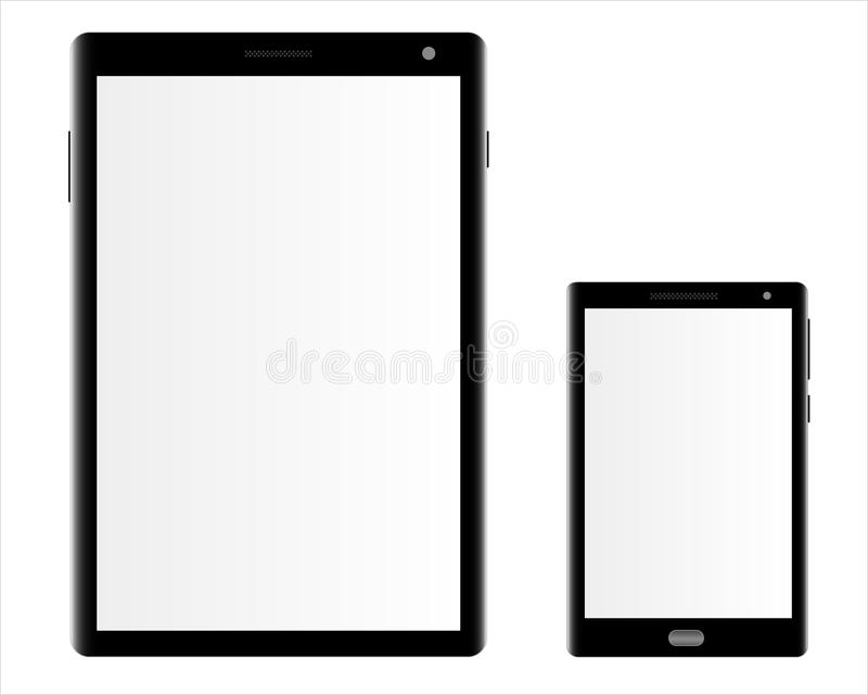 Mockups of a tablet computer and a smartphone on a white background. stock illustration