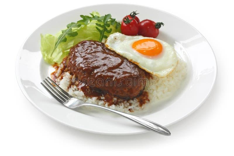 Moco di Loco, cucina hawaiana immagini stock