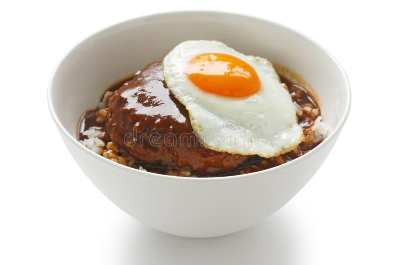 Moco di Loco, piatto hawaiano della ciotola di riso fotografia stock