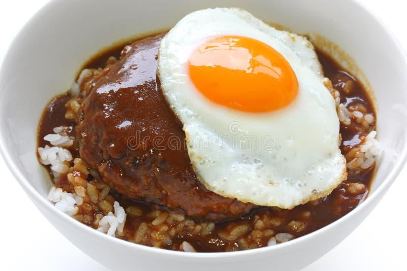 Moco di Loco, piatto hawaiano della ciotola di riso fotografia stock libera da diritti