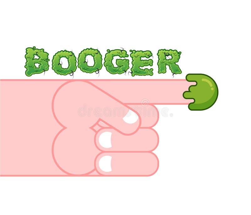 Mocos en el finger Escoja su nariz lloriquean Mano y booger Sl verde stock de ilustración