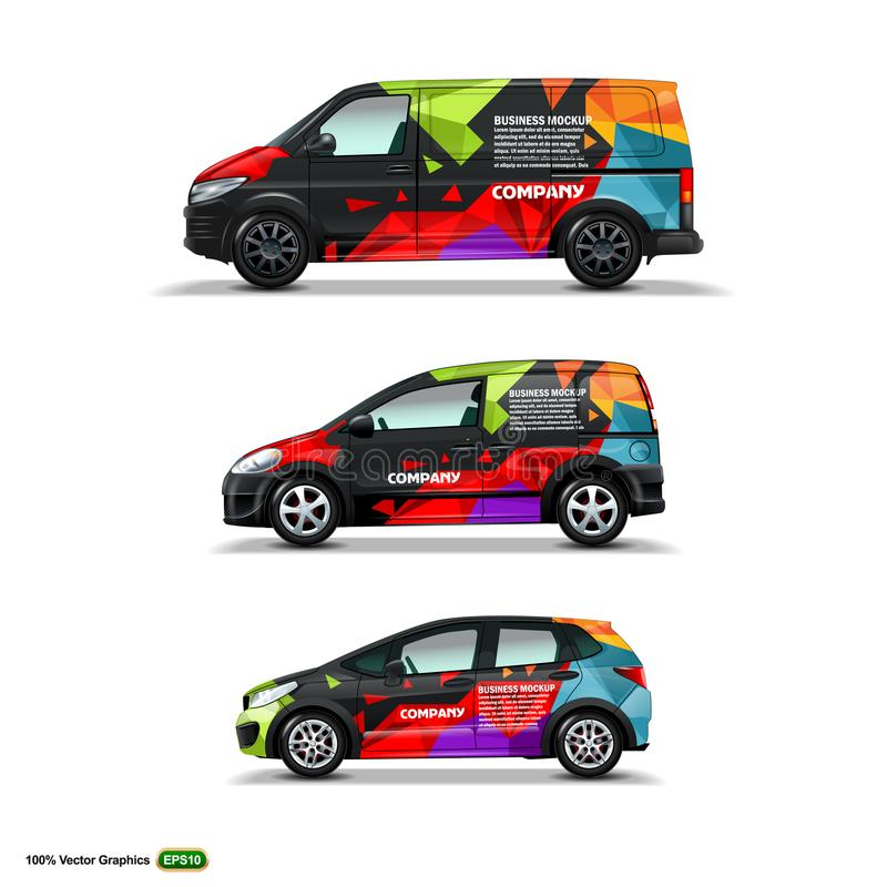 Mocup fijó con el anuncio en el coche, el cargo Van, y la entrega Van negros stock de ilustración