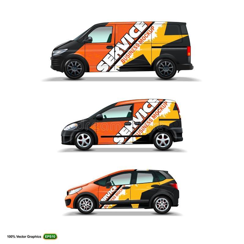 Mocup fijó con el anuncio en el coche, el cargo Van, y la entrega Van negros libre illustration