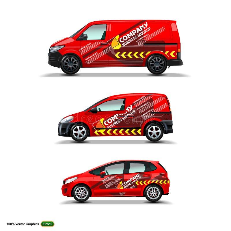 Mocup fijó con el anuncio en el coche, el cargo Van, y la entrega Van rojos ilustración del vector