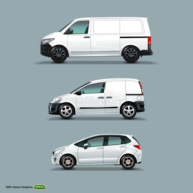 Mocup set of White Car, Cargo Van, and delivery Van. royalty free illustration