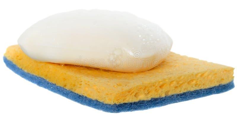 Moczy mydło z pianą na cleaning gąbce zdjęcie royalty free