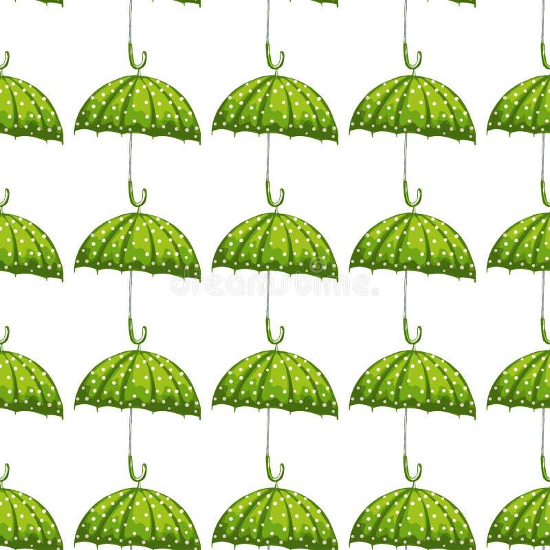 Modèle à la mode avec le parapluie vert Texture sans joint de vecteur Calibre élégant pour des copies de mode Parapluie avec l'él illustration stock
