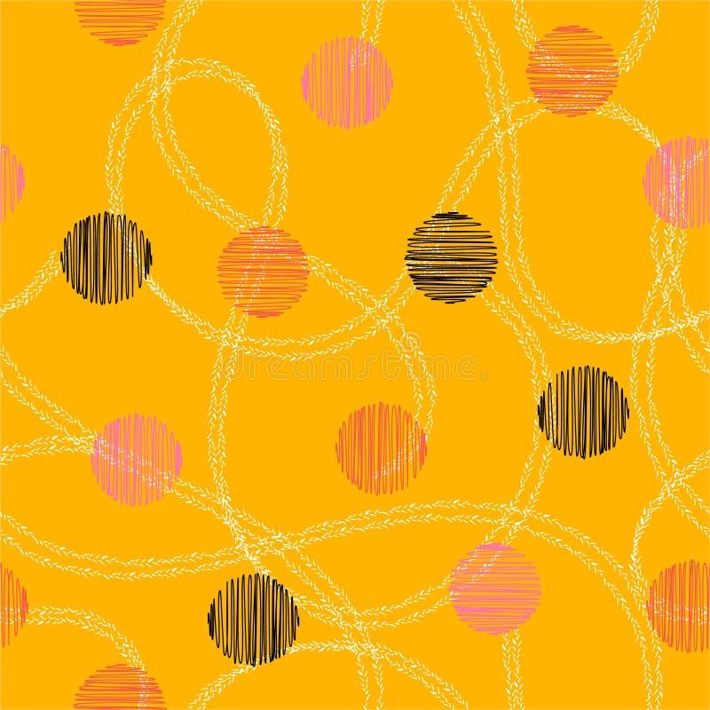 Modèle à la mode avec les courses tirées par la main colorées et conception sans couture de modèle de cercle de croquis de main d illustration stock