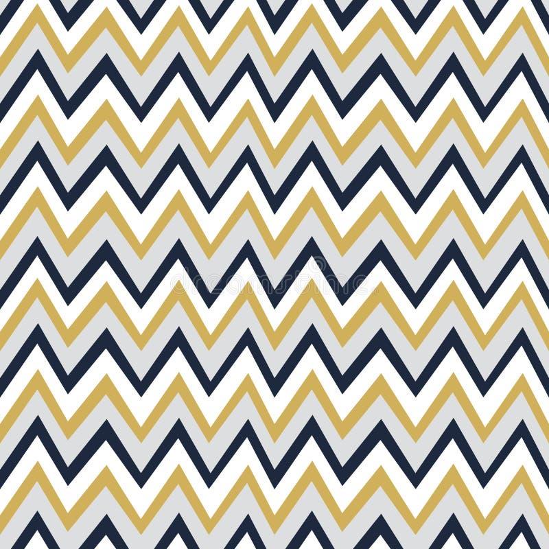 Modèle à la mode d'or, de blanc et de bleu marine de chevron de fond illustration de vecteur