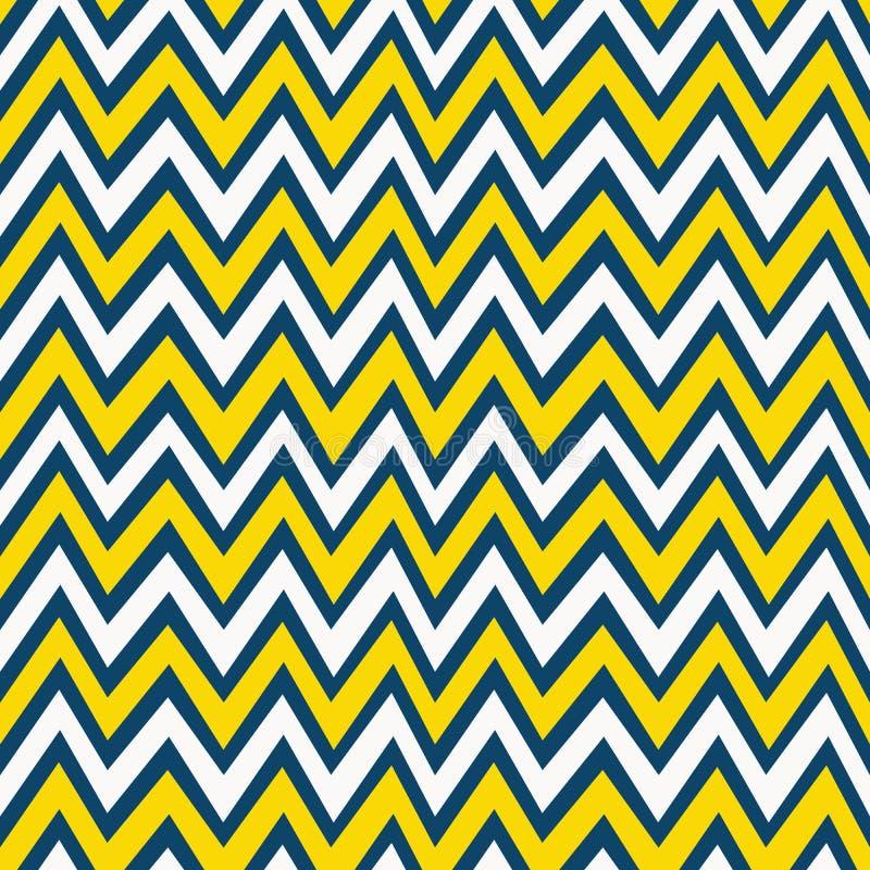 Modèle à la mode jaune, de blanc et de bleu marine de chevron de fond illustration libre de droits
