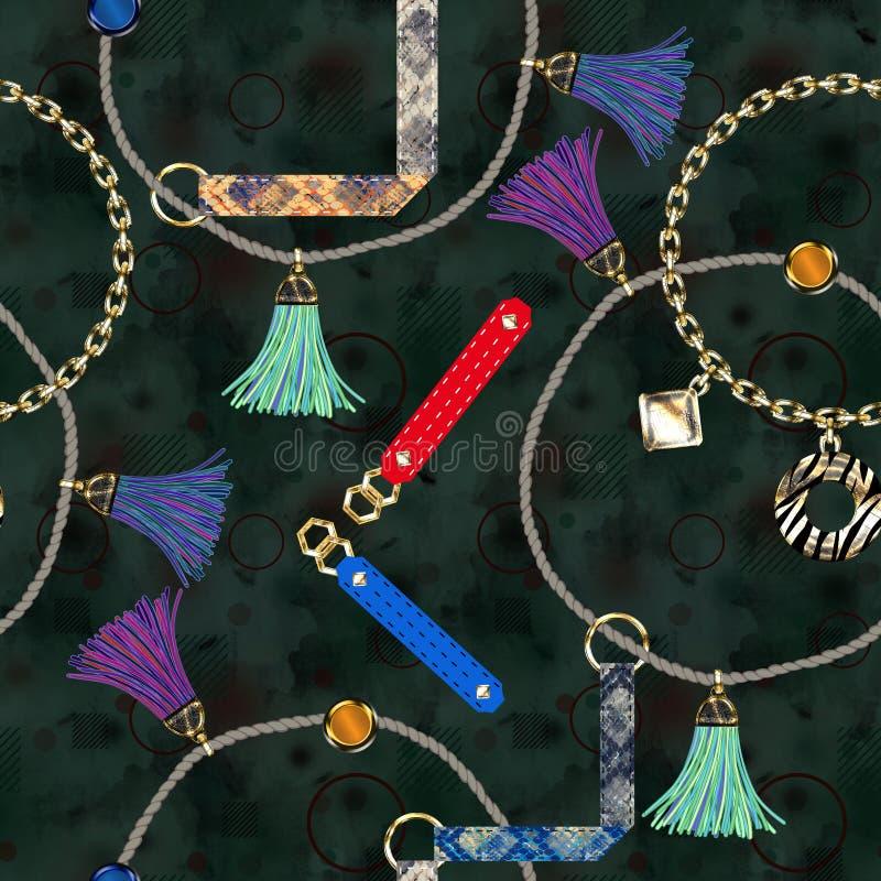 Modèle à la mode sans couture avec des bracelets en cuir, chaînes, brosses, dentelles sur un fond noir illustration libre de droits