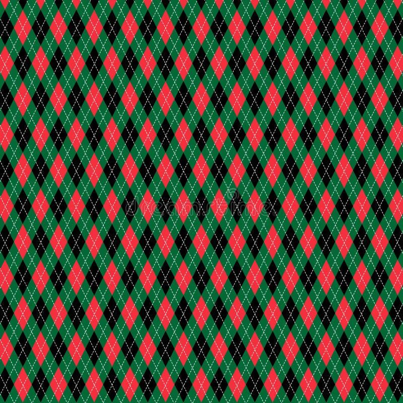 Modèle à motifs de losanges de Noël noir vert rouge illustration libre de droits