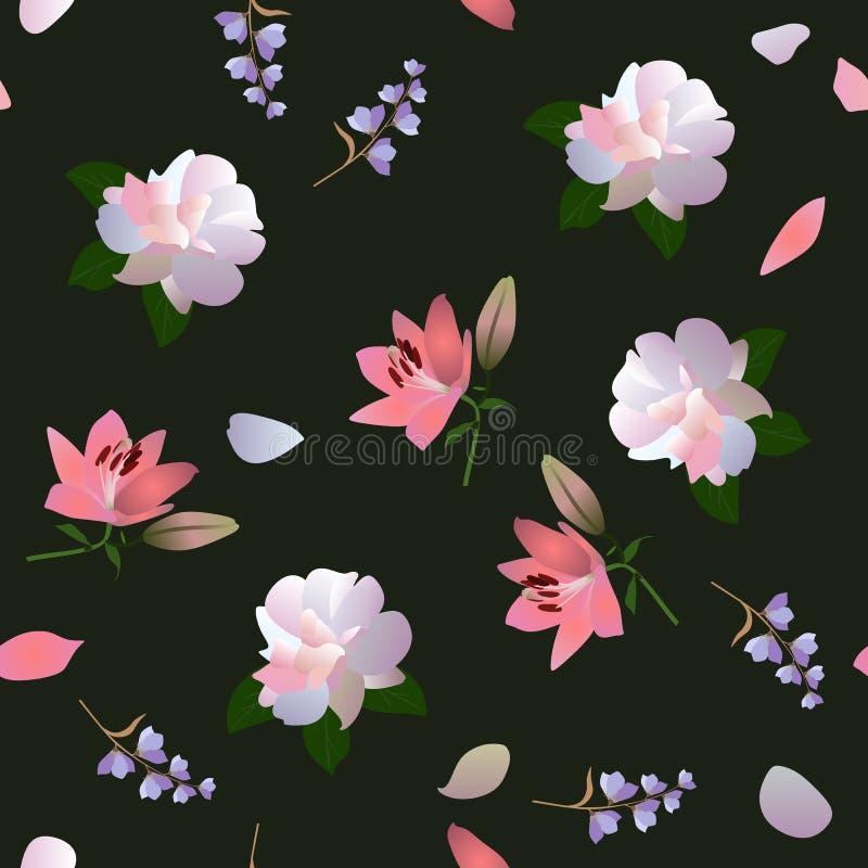 Modèle écervelé floral carré sans couture avec les roses blanches, les lis roses et les petites fleurs de cloche sur le fond noir illustration stock