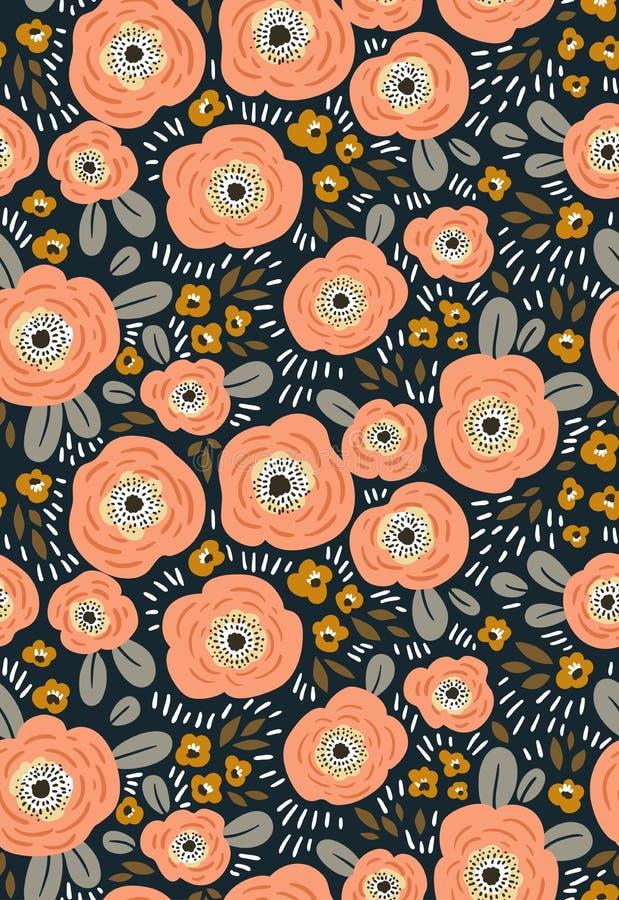 Modèle écervelé floral sans couture à la mode Conception de tissu avec les fleurs simples Fond sans joint de vecteur illustration libre de droits