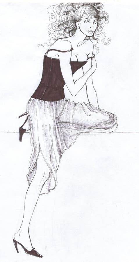 Modèle élégant à la mode illustration de vecteur