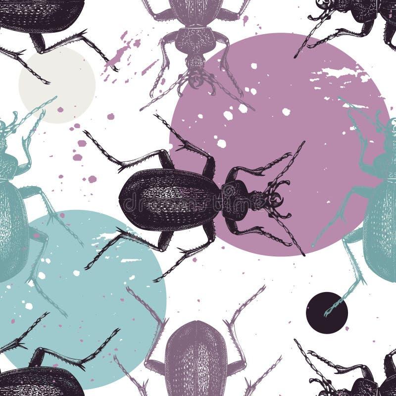 Modèle énorme de Violet Ground Beetle avec les taches colorées de peinture Fond sans couture avec des insectes d'aube de main Ill illustration libre de droits