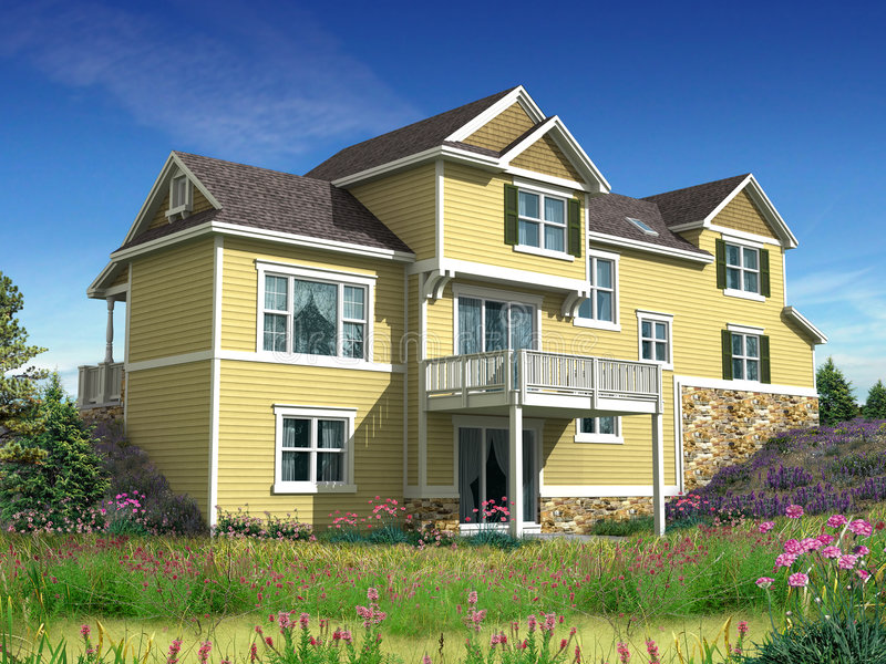 modèle 3d de maison à deux niveaux image libre de droits