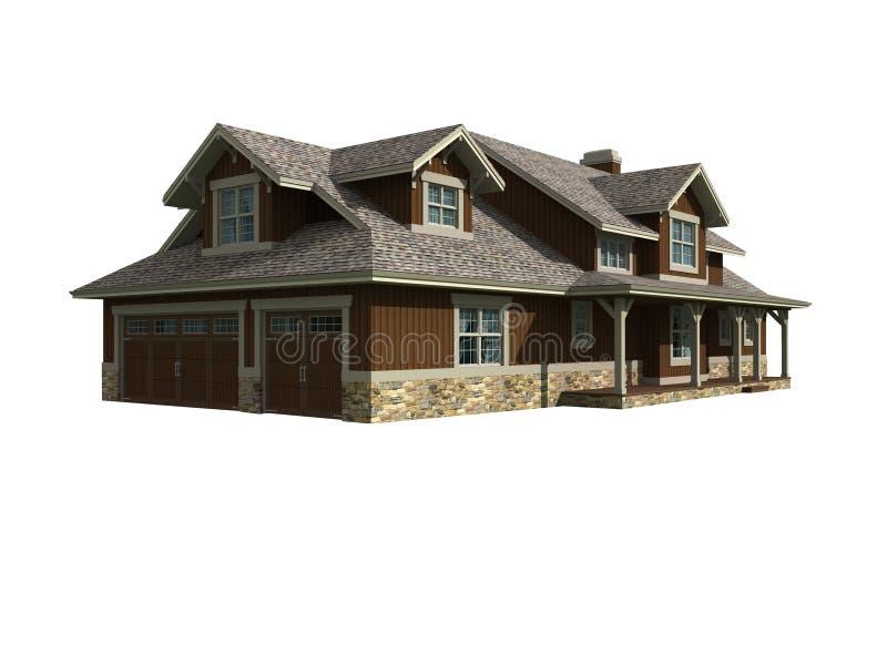 modèle 3d de maison de ranch illustration de vecteur