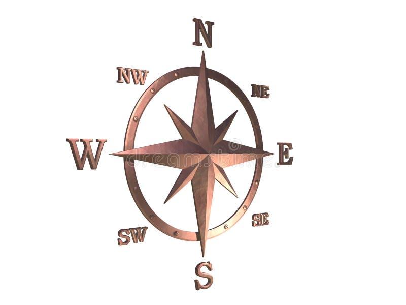 modèle 3d du compas de cuivre avec le chemin de découpage illustration de vecteur