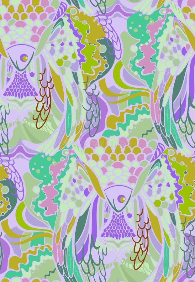 Modèle abstrait avec des éléments des plumes des oiseaux et des poissons illustration libre de droits