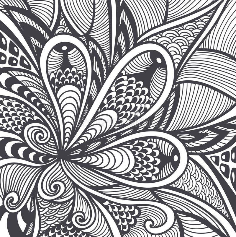 Modèle abstrait dans le noir de style de Zen-griffonnage de Zen-embrouillement sur le blanc illustration de vecteur