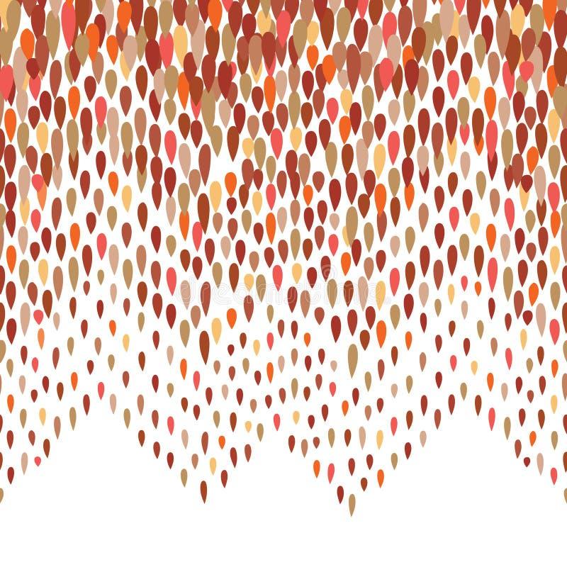 Modèle abstrait de baisse de l'eau Fond de tache de zig-zag Frontière sans couture de point de goutte de pluie illustration stock
