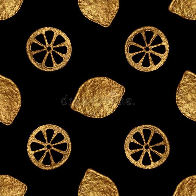 Modèle abstrait de citron Fond sans couture peint à la main d'or Illustration d'or d'agrumes illustration libre de droits