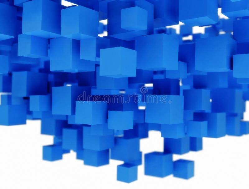 Modèle abstrait de milieux des cubes en bleu 3D illustration libre de droits