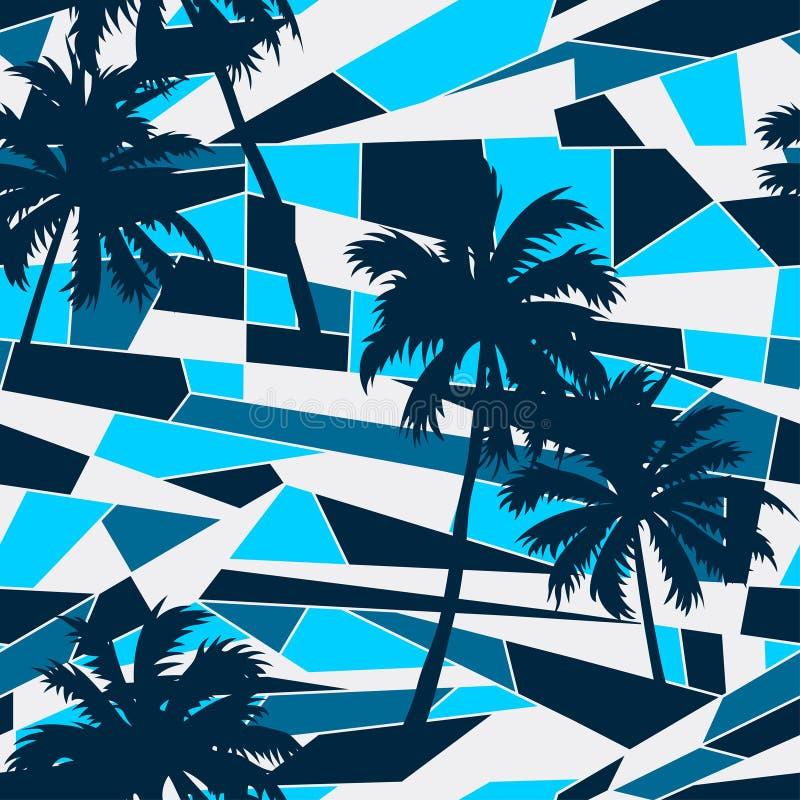 Modèle abstrait de ressac avec le modèle sans couture de palmiers illustration libre de droits