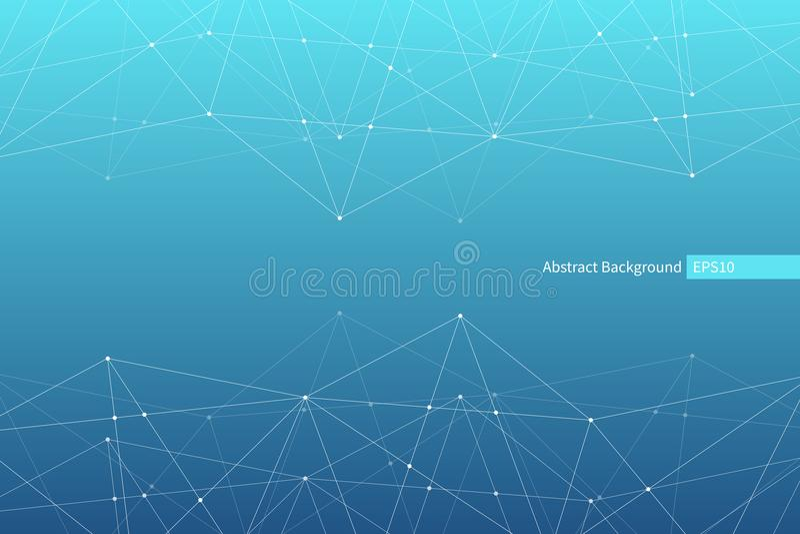 Modèle abstrait de triangle de vecteur Fond polygonal géométrique de réseau Structure moléculaire Illustration scientifique d'Inf illustration libre de droits