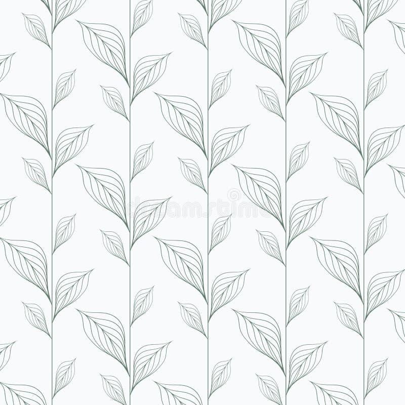 Modèle abstrait de vecteur de feuille, répétant les feuilles linéaires, fleur, feuilles squelettiques, herbe illustration stock