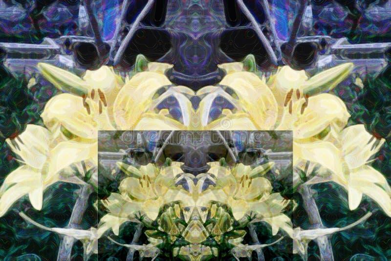 Modèle abstrait des éléments floraux multicolores Interprétation des lis jaunes illustration libre de droits
