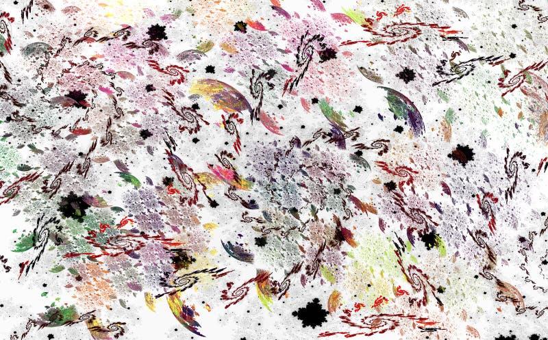 Modèle abstrait des spirales de fractale, des plumes et d'EL à carreaux illustration stock