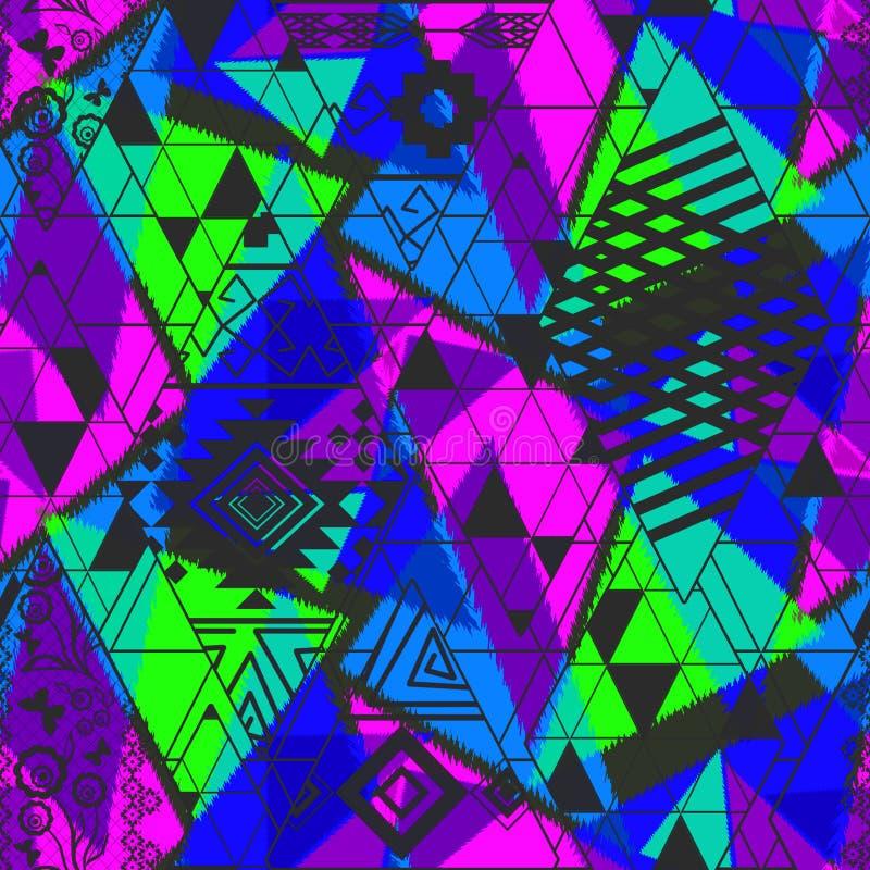 Modèle abstrait ethnique sans couture avec des tons au néon lumineux Ornement bleu, vert, rose, noir lumineux illustration libre de droits