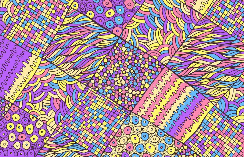 Modèle abstrait fantastique surréaliste psychédélique de griffonnage avec squar illustration de vecteur