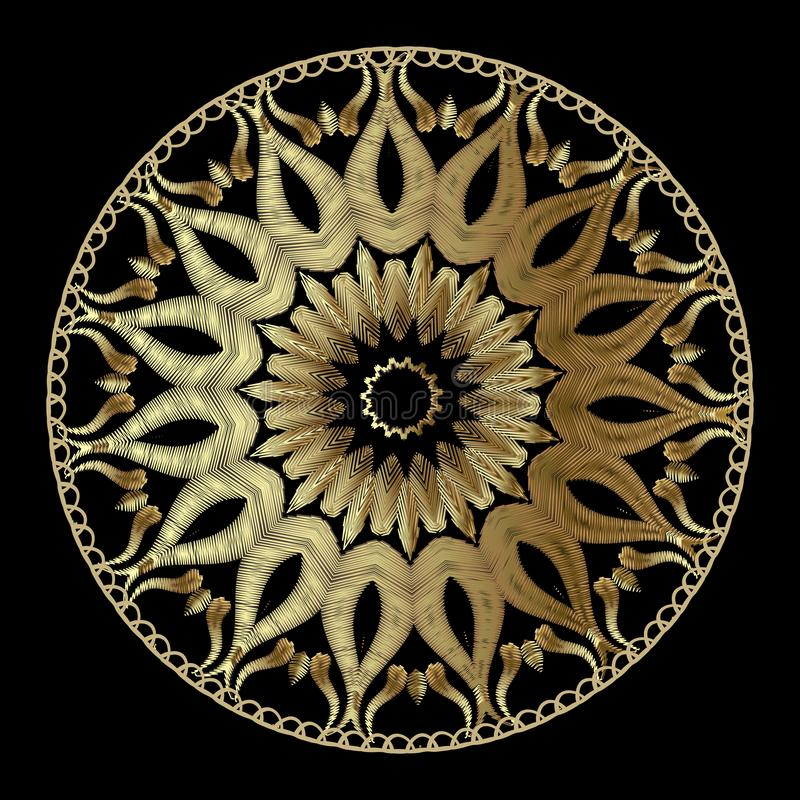 Modèle abstrait floral de mandala de vecteur de tapisserie Or ornemental illustration stock